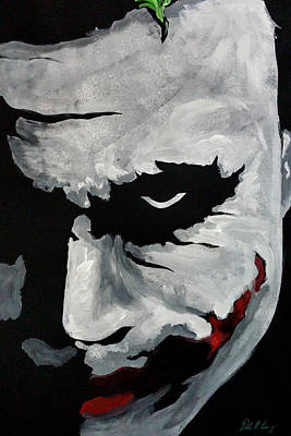 Heath Ledger Wall Art - Painting - Ledger's Joker by Dale Loos Jr