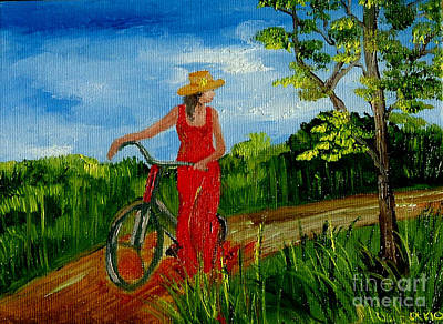 Ledy With The Bike Art Print by Inna Montano