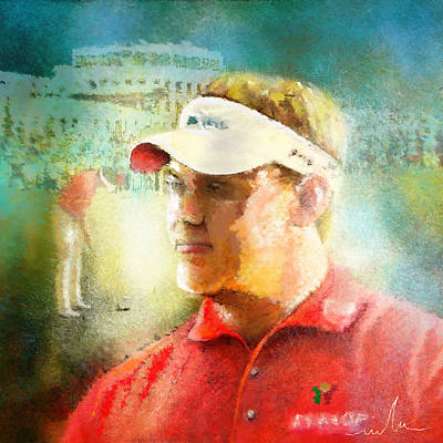 Painting - Lee Westwood Winning The Portugal Masters 2009 by Miki De Goodaboom