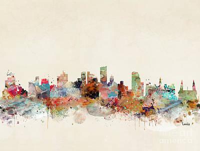 Painting - Leeds City Skyline by Bri B