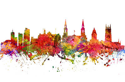 Europe Drawing - Leeds Cityscape 08 by Aged Pixel