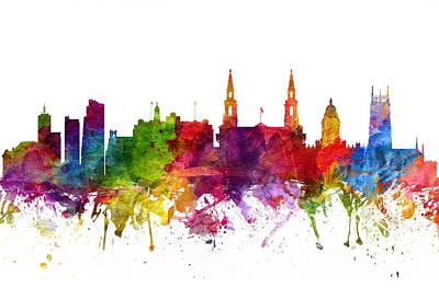 Europe Drawing - Leeds England Cityscape 06 by Aged Pixel