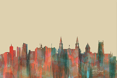 Digital Art - Leeds, Uk Skyline - Navaho by Marlene Watson
