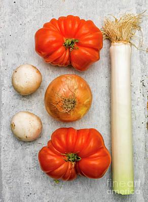 Edible Mushrooms Photograph - Leek And Tomatoes by Bernard Jaubert