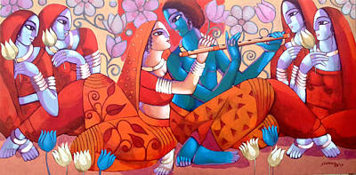 Indian Contemporary Artist Painting - Leela by Sekhar Roy