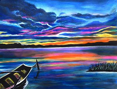 Painting - Left Alone A Seascape Boat Painting At Sunset  by Manjiri Kanvinde