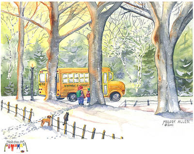 School Bus Painting - Left Behind by Melody Allen