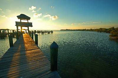 Shrimpboats Wall Art - Photograph - Left Dock Sunrise by Michael Thomas