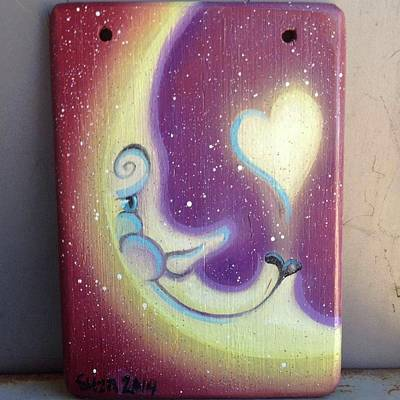 Painting - Left Moon Love by Suzn Art Memorial