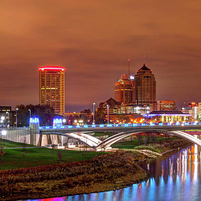 Photograph - Left Panel 1 Of 3 - Columbus Ohio Skyline At Night by Gregory Ballos