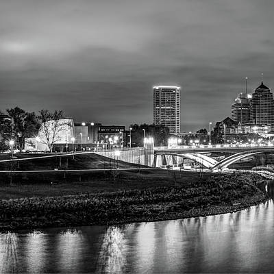 Left Panel 1 Of 3 - Columbus Ohio Skyline At Night In Black And White Art Print