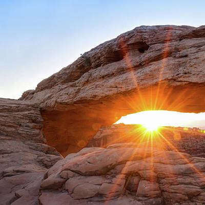 Photograph - Left Panel 1 Of 3 - Mesa Arch Sunrise Panorama - Canyonlands Np by Gregory Ballos
