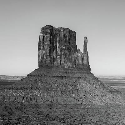 Landscapes Royalty-Free and Rights-Managed Images - Left Panel 1 of 3 - Monument Valley Buttes Panoramic Landscape at Sunset - Monochrome by Gregory Ballos
