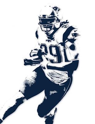 New England Mixed Media - Legarrette Blount New England Patriots Pixel Art by Joe Hamilton