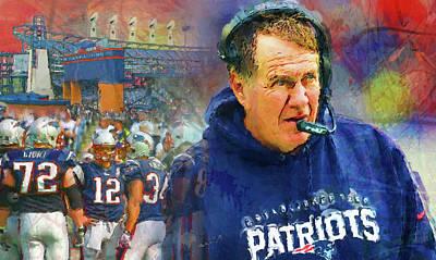 Nfl Legends Painting - Legend Bill Belichick New England Patriots by John Farr