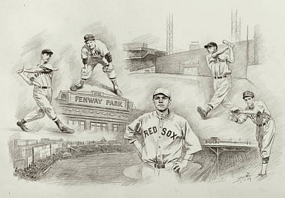 Red Sox Drawing - Legend Of Boston Red Sox by Mei  He