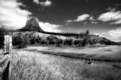 Grizzly Bear Mixed Media - Legend Of The Bear Wyoming Devils Tower Bw by Thomas Woolworth