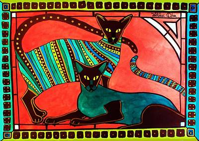 Painting - Legend Of The Siamese - Cat Art By Dora Hathazi Mendes by Dora Hathazi Mendes