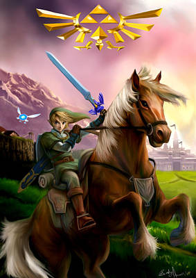 Legend Of Zelda- Link And Epona Art Print by Becky Herrera