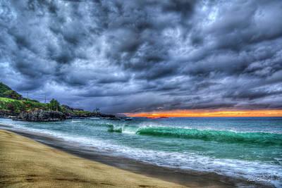 Car Photos Douglas Pittman - Oahu HI Waimea Bay North Shore Winter Sunset Legendary Surfing Landscape Seascape Art by Reid Callaway