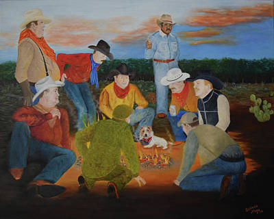 Prickly Pear Painting - Legends And Whiskey by Belinda Nagy