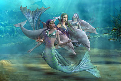 Angel Mermaids Ocean Digital Art - Legends by Betsy Knapp