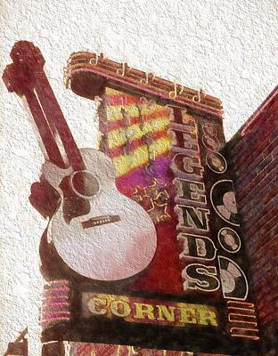 Johnny Cash Mixed Media - Legends Corner Nashville Tennessee by Dan Sproul