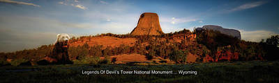 Photograph - Legends Of Devils Tower National Monument Wyoming Panorama With Text by Thomas Woolworth