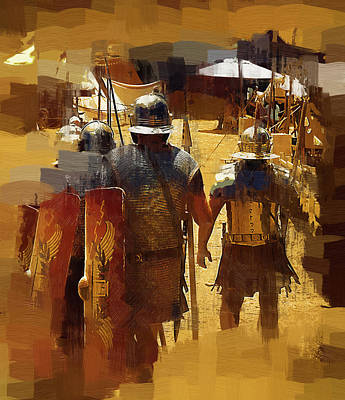 Legionnaires Marching To Camp Art Print by Clarence Alford
