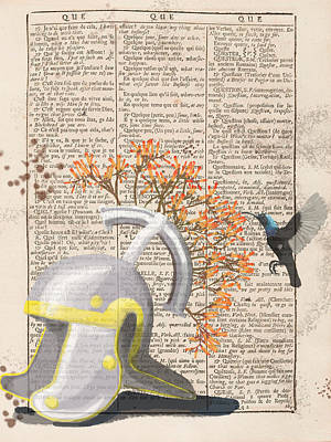 Digital Art - Legions Helmet On A Dictionary Page by Keshava Shukla