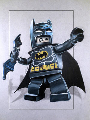 The Dark Knight Drawing - Lego Batman by Thomas Volpe