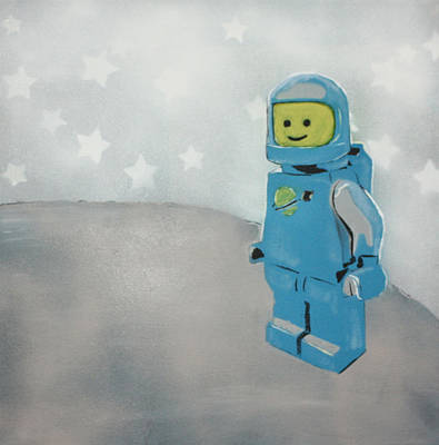 Lego Man On The Moon Art Print by Wall Kandi