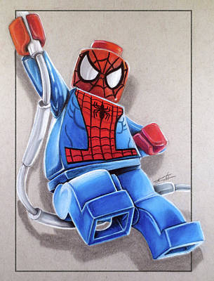 Lego Drawing - Lego Spiderman by Thomas Volpe