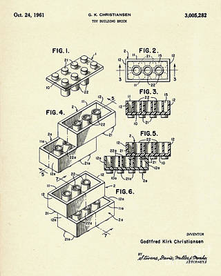 Lego Toy Building Brick-1961 Art Print
