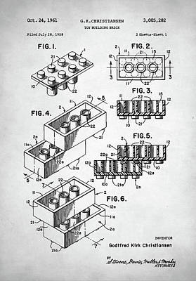Digital Art - Lego Toy Building Brick Patent by Taylan Apukovska