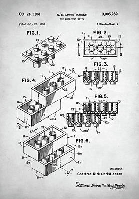 Block Party Digital Art - Lego Toy Building Brick Patent by Taylan Apukovska