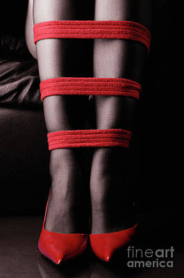 Fetish Photograph - Legs In Red Ropes by Oleksiy Maksymenko