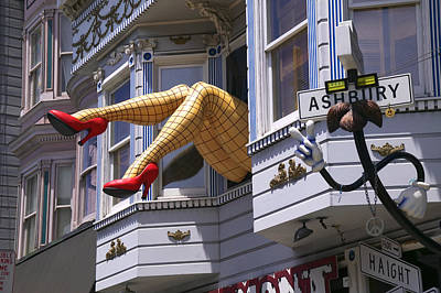 Funny Signs Photograph - Legs In Window Sf by Garry Gay