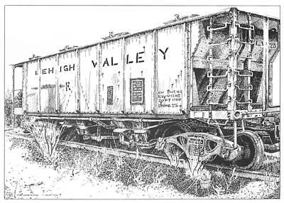Peter Muzyka Wall Art - Drawing - Lehigh Valley Coal Car by Peter Muzyka