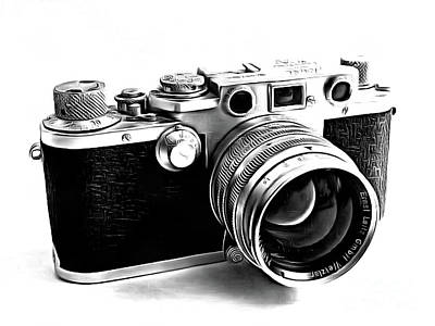 Vintage Camera Drawing - Leica IIi Camera Drawing by Edward Fielding