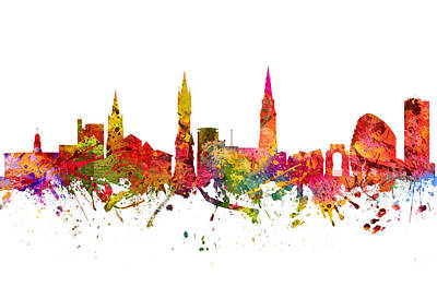 Europe Drawing - Leicester Cityscape 08 by Aged Pixel