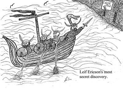 Viking Ships Drawing - Leif Ericson by Aaron LeDuc