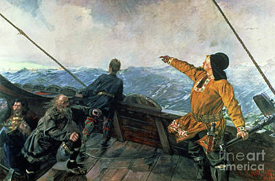 Water Vessels Painting - Leif Eriksson Sights Land In America by Christian Krohg