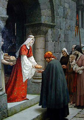 Leighton Edward Blair Charity Of St Elizabeth Of Hungary Art Print by Edmund Blair Leighton