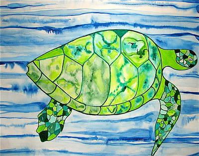 Art Print featuring the painting Leilani The Hawaiian Sea Turtle by Erika Swartzkopf
