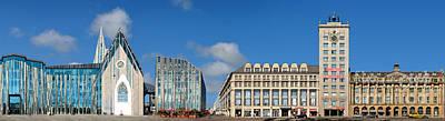 Architektur Digital Art - Leipzig Augustusplatz Panorama by Joerg Dietrich