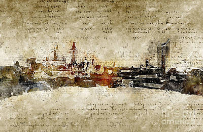 Digital Art - Leipzig Skyline Modern And Abstract by Michael Kuelbel