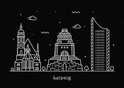 Abstract Landscape Drawing - Leipzig Skyline Travel Poster by Inspirowl Design