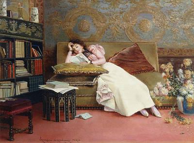 Homework Painting - Leisure Hours by Georges Croegaert