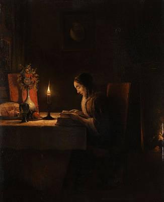 Painting - Lekture Bei Kerzenlicht by Petrus Van Schendel